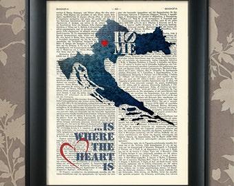 Croatia Art Print, Croatia Print, Croatia Map Art, Croatia Wall Art, Croatia Pride, Croatia Map Print, Croatia Map, Map of Croatia, Croatian