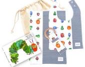 Miminko New Baby Bundle: Burp Shawl, Blanket, Bib & choice of Headband or Teether