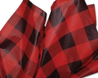 "Red & Black Plaid Tissue Paper #367  - 10 Large sheets  20"" x 30"" - Man"