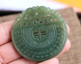 Free Shipping - natural jade dragon pendant, antique jade dragon pendant carved double-sided hollow craft dragons pendant
