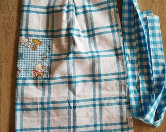 Waist Tea Towel Apron with Pocket: Blue Gingham