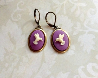 Ivory And Purple Passion Hummingbird Brass Earrings