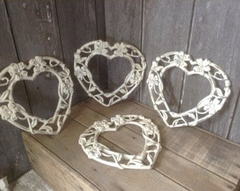 88 - Picture Frames - Ornate -Plastic - Childs Room - Nursery - Wedding -Table Top Ready- Heart Shaped - Heirloom White - Distressed