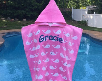 WHALES Pink Hooded Cotton Beach Poncho Towel Personalized