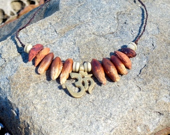 Om Natural Date and Olive Seed Necklace