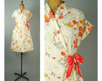 20% SALE Soliel dress • 1950s cotton wrap dress