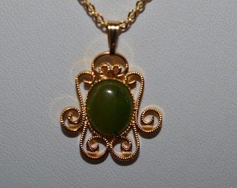 Vintage, Genuine Jade Filigree Oval Pendant Necklace (1050061)
