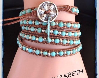 Hand Crafted Blue Turquoise And Leather Wrap Bracelet, Beaded Leather Wrap.