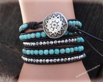 5X Wrap Turquoise Leather Black Bracelet, Turquoise And Leather Beaded Wrap Bracelet.