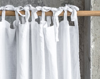Washed white linen curtains/ linen drapes