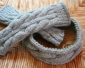 Handknit Fingerless Gloves and Ear Warmer set