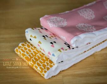 Baby Burp Cloths, Modern Burp Cloths, Shower Gift, Set of 3 - Alphabet