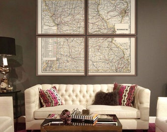 "Missouri map 1901, Vintage map of Missouri state in 5 sizes up to 60x48"" (150x120 cm) MO map in 1 or 4 parts - Limited Edition of 100"