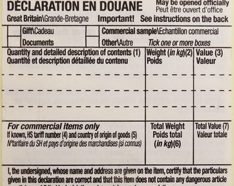 25 CN22 Customs Declaration forms (Self Adhesive Labels)