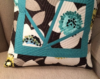 Teal spring summer floral pillow cover