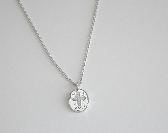Cross silver necklace, sterling silver necklace,charm necklace, bridesmaid gift, gift necklace, S3