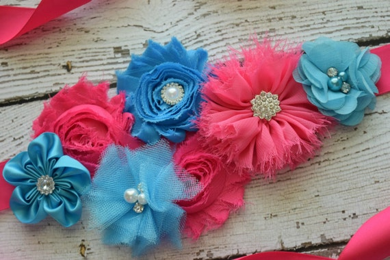 Flower Sash, Hot pink and turquoise Sash , flower Belt, maternity sash
