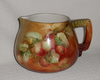 American Belleek Lenox Hand Painted Apples Porcelain Cider Jug Pitcher Antique