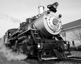 Steam train, steam locomotive, train photography, black and white photography, wall art, train decor, train, fine art print, train art