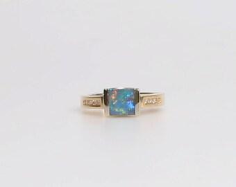 Doublet Opal & Diamond Ring in 14k Yellow Gold /