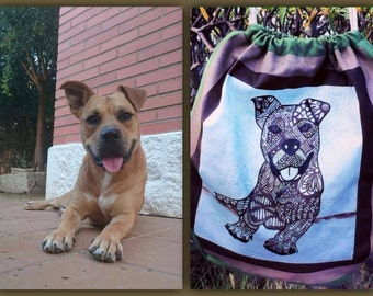 CUSTOM ZENTANGLE dog BACKPACK