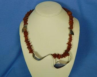 Sterling Amber Necklace, Vintage Artisan Statement Necklace, Sculptural Sterling Necklace, Modernist Necklace, OOAK