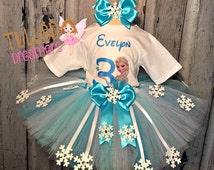 Queen Elsa Tutu Birthday Outfit,Frozen Elsa Tutu,Snowflakes Tutu,Birthday Outfit,Handmade Outfit,Customized Birthday Elsa Tutu,Girls Girft