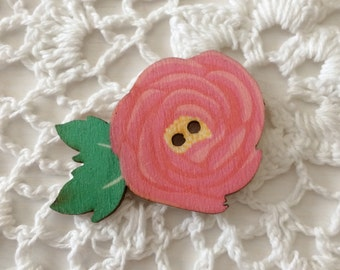 Wood Rose Button