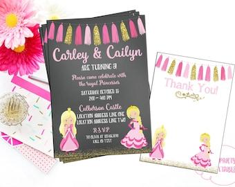 Twin Princess Birthday Invitation - You Print - Princess Theme Invitation - Princess Party - Gold Confetti Invitation - Pink and Gold