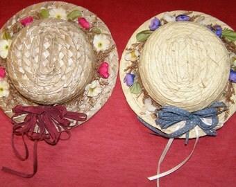 Vintage Straw Doll Hats - Set of 2