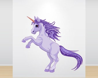 Purple Unicorn Wall Decal Full Colour Sticker Girls Wall Bedroom Playroom Nursery Wall Sticker