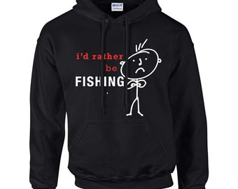 Fishing Hoodie Mens I'd Rather Be Fishing Hoody Dad Grandpa Husband Fathers Day Present Gift Novelty