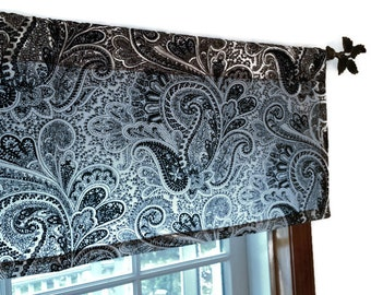 Window Valance, Kitchen Valance, Bedroom Valance, Black Valance,  Contemporary Valance, Black