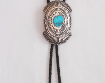 Native American Sterling silver and turquoise bolo tie, signed