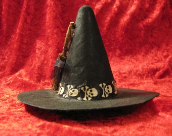 Skull and Broom Small Witch Hat Hair Clip