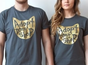 Cat Shirt, Adopt Don't Shop T Shirt, Unisex, Charcoal Grey and Gold Foil, Cat Lover Graphic Tee, Cat Lady Gift, Pet Lover Gift, Pet Tee