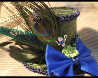 Green and Blue alice in wonderland Mad Hatter  Mini Top Hat Fascinator