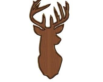 Deer Head...Instant Download...Applique Machine Embroidery DESIGN NO. 582