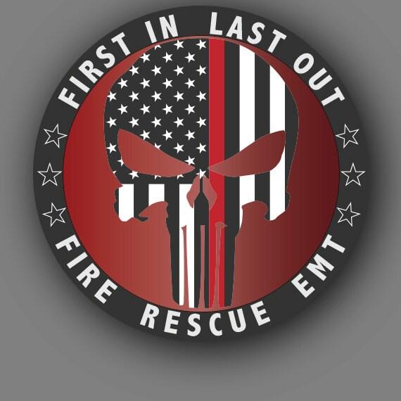 Punisher Red Line Fire Ems Rescue Die Cut Vinyl Decal Sticker