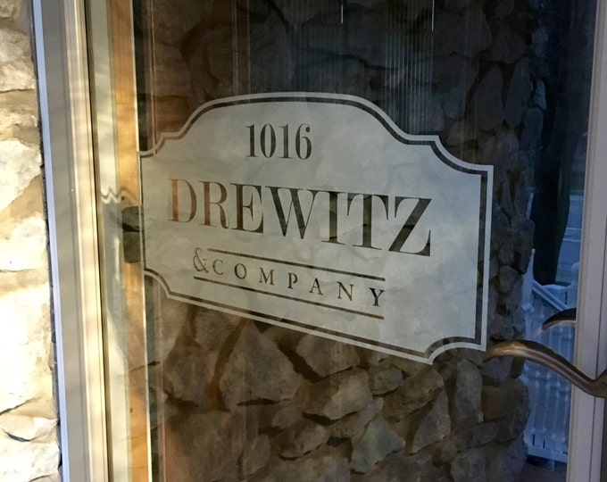 Frosted Etched Glass Vinyl Family Name Decal for Window or Door 22""