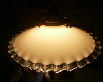 Original Vintage French light shade, milk glass, coolie shade, opaline, Art Deco, Antique, pendant  fixture, Shabby chic, Chateau Chic,