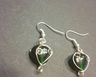 Green Glass Bead Earrings Silver Wire Wrapped Dangle Drop