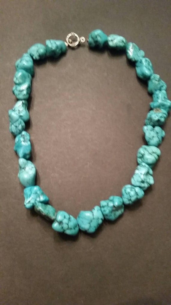 Turquoise nugget necklace blue beads costume jewelry for Turquoise colored fashion jewelry