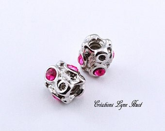 Silver plated charm with old stone pink to insert on your bracelet charms !