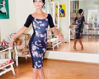 Tango dress, sleeved tango dress, occasional dress, casual dress, off the shoulder dress, custom made dress, floral dress, stretchy dress