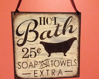 Bath Sign, Hot bath 25 cents,brown and cream bathroom,bathroom decor,vintage,shabby,retro,primitive gift,home decor,gift,wood sign