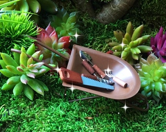 Fairy garden wheelbarrow, miniature garden, miniature metal wheelbarrow, fairy supplies, miniature watering can, miniature garden tools