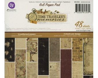 "Prima Time Traveler's Memories 6"" x 6"" Paper Pad Scrapbooking Paper Crafting Card Making"