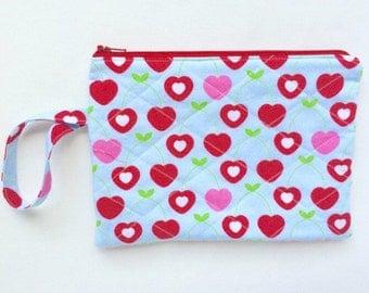 Cherry Wristlet, Cherry Zipper Pouch, Wristlet, Cherry Purse, Wristlet Wallet, Quilted Wallet, Cherry Wallet, Zipper Pouch for Girls