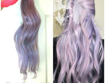 Exclusive 8A Remy Clip In Human Hair Extensions Cyber Lilac Lavender with Silver Hint All Lengths & Weights Available